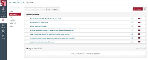 Screenshot discussionboard